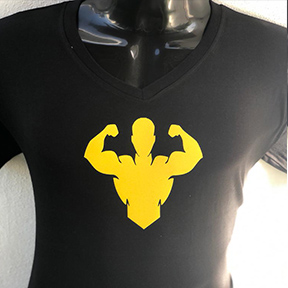 Bodybuilder Yellow Design - Black T Shirt