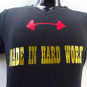 Made In Hard Work With Red Dumbbell - Black T Shirt